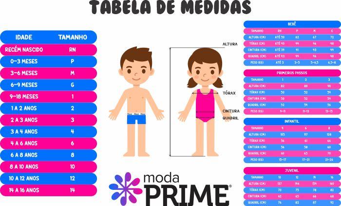 tabela de medidas infantil tamanho crianca