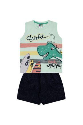 7360 verde conjunto infantil masculino regata dino dinosauro