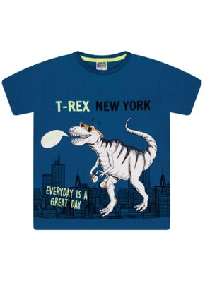 7381 azul camiseta infantil masculina t rex
