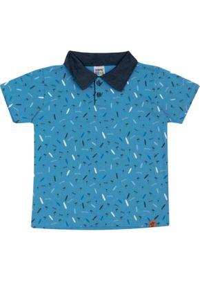 7385 azul camisa polo infantil masculina