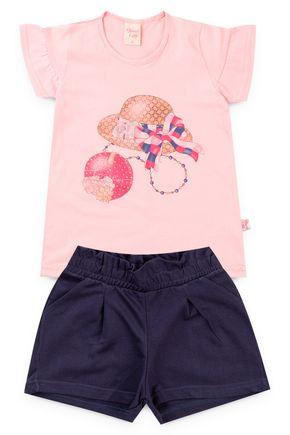 6224 conjunto blusa rosa velho meia malha e shorts moletinho 46810 3