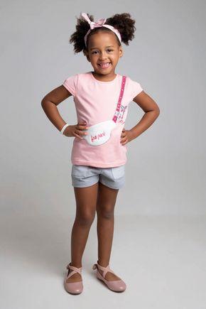 6217 conjunto blusa rosa velho cotton e shorts 46810