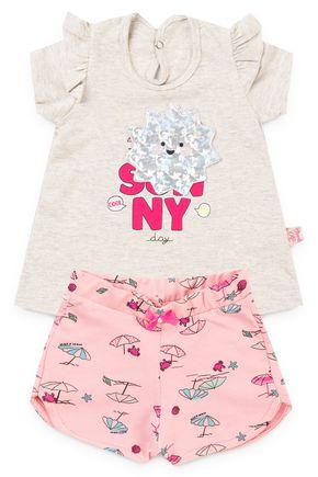 6171 conjunto blusa mescla meia malha e shorts moletinho rotativo praia pmg 1