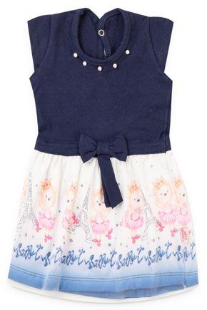 6150 vestido marinho cotton com saia sublimada pmg