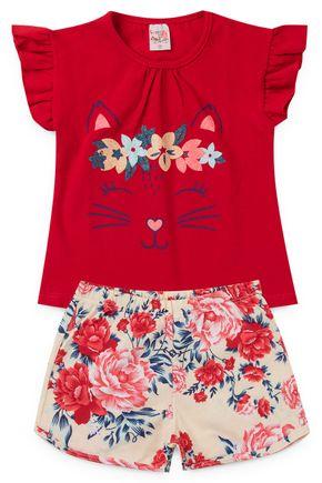 2060 vermelho conjunto infantil femino gatinha flores floral 2