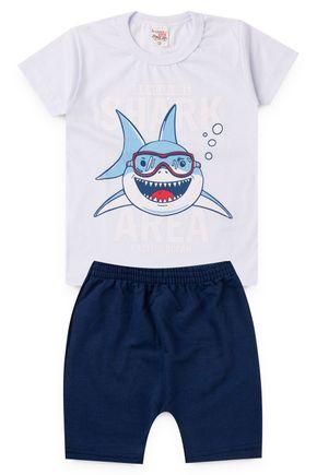 2063 branco conjunto infantil shark tubarao 2