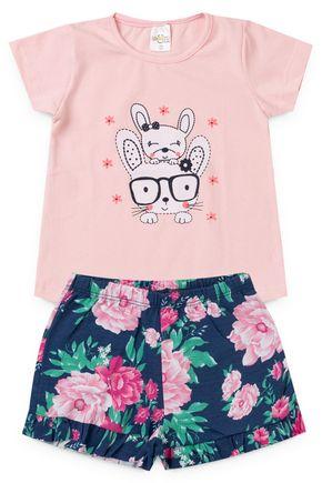 2098 rosa nude conjunto infantil feminino cachorro coelho 2