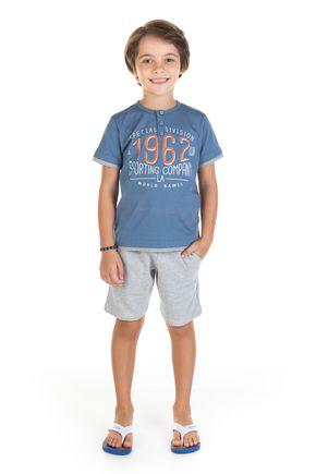 11720 azul escuro conjunto camisa em mmalha e bermuda em moletom 0