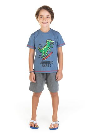 11718 azul escuro conjunto camiseta em mmalha e bermuda em moletom 0