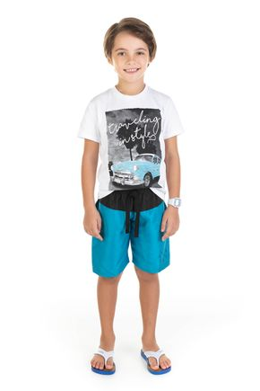 11714 branco conjunto camiseta em mmalha e bermuda em tactel 0