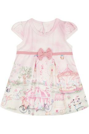 7412 rosa vestido estampado com laco
