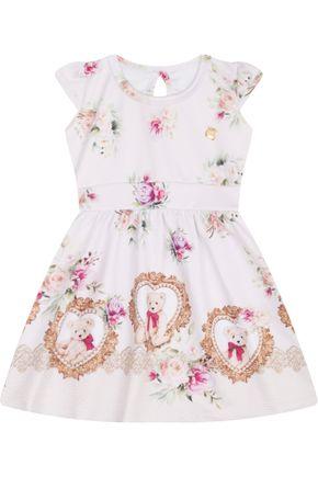 7447 off vestido infantil estampado ursinho