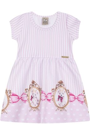 7449 rosa listrado vestido infantil estampado