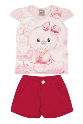 7455 rosa nude conjuto infantil feminino ursinho blusa