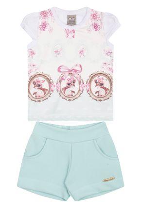 7459 branco conjuto infantil feminino blusa