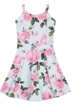 7548 verde vestido infantil feminino estampado floral