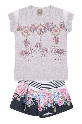 7558 mescla conjunto infantil feminino short estampado floral