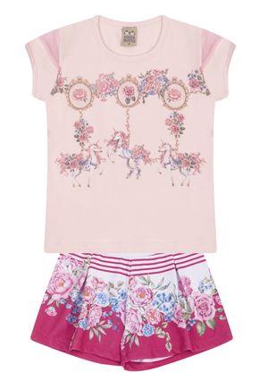 7558 rosa nude conjunto infantil feminino short estampado floral