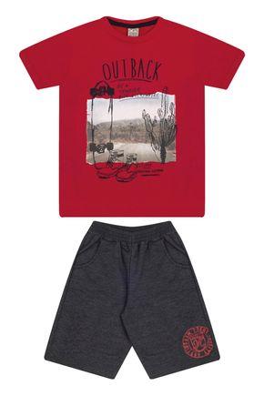 7583 vermelho conjunto infantil masculino com bolso moletom