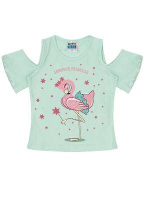 7326 verde blusa infantil menina flamingo