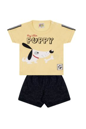 7316 amarelo cachorro conjuto infantil masculino