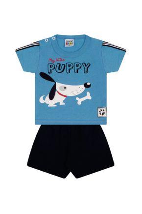 7316 azul cachorro conjuto infantil masculino