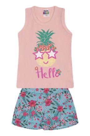 7337 rosa nude conjunto infantil feminino regata abacaxi