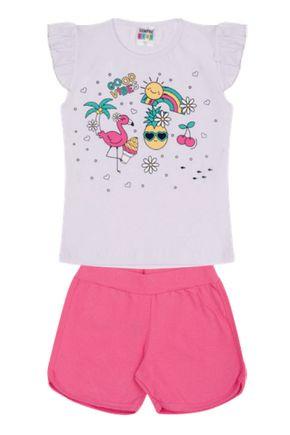 7373 branco conjunto infantil abacaxi flamingo