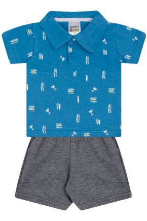 7318 azul conjuto infantil masculino gola polo moletom