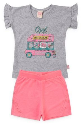 6186 conjunto infantil blusa e shorte neon onibus 6